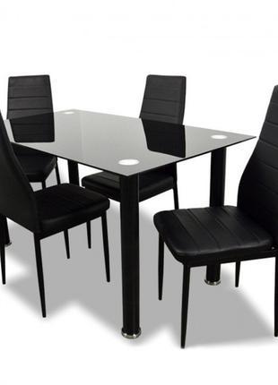 Кухонный стеклянный стол и 4 стула Multi IMP цвет чёрный