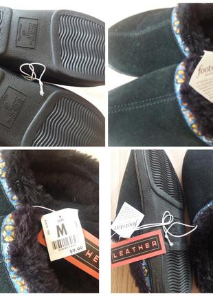 Теплые тапочки, шлепки, черные с вышивкой. фирма  mountain cou...