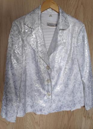 Шикарный пиджак в серебряную крапинку и велюровыми цветами 1 р...