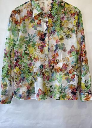 Коттоновая рубашка в цветы 💐 раз.l