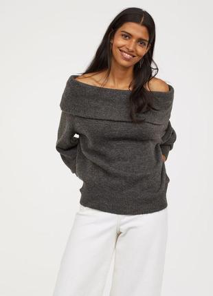 Шикарный мягкий свитер с открытыми плечами h&m m