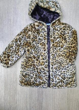 Шикарное леопардовое пальто bon bebe на малышку 3-4 года 98-10...