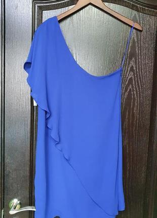 Шикарное синее платье zara на одно плечо