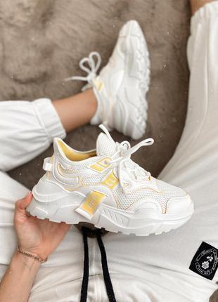 Новинка! кроссовки кроссы белые с желтым легкие летние весенни...
