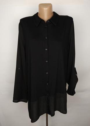 Блуза черная стильная комбинированная асимметричная по низу tu...