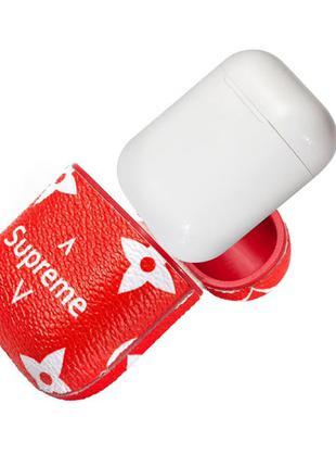 Кожаный чехол для наушников Apple AirPods Supreme Red.