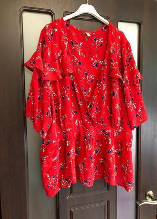Шикарная натуральная блуза на запах в цветы asos