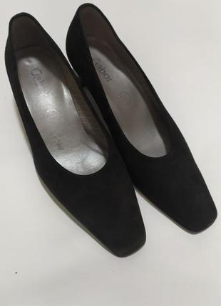 Gabor черные замшевые женские туфли лодочки маленький каблук 38