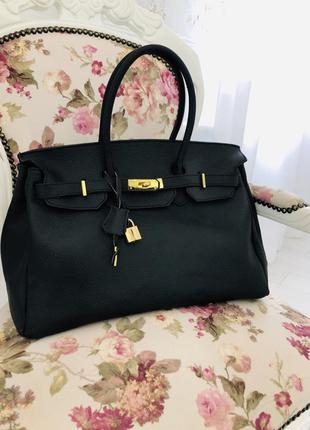 Кожаная черная сумка шоппер genuine leather borse in pelle италия