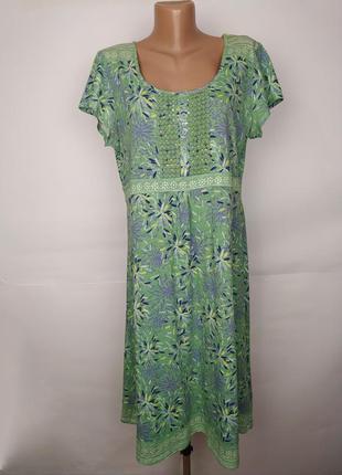 Платье хлопковое салатовое летнее красивое debenhams uk 16/44/xl