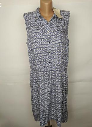 Платье натуральное голубое в орнамент большой размер uk 18/46/xxl