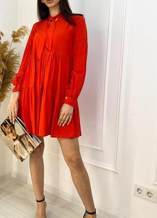 Летнее платье штапель красный