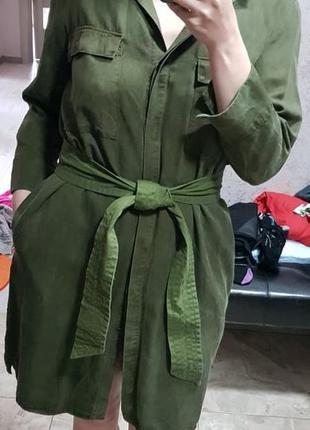 Платье рубашка под замш с поясом mango casual
