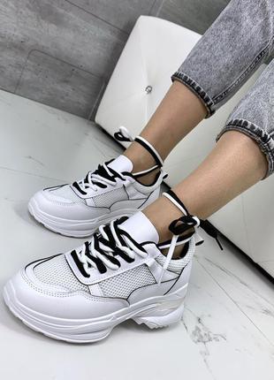 Белые кроссовки с сеткой, белые летние кроссовки
