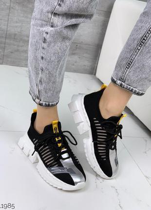 Чёрные текстильные кроссовки с сеткой,кроссовки из текстиля на...