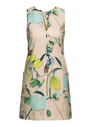 Платье в тропический принт h&m размер s