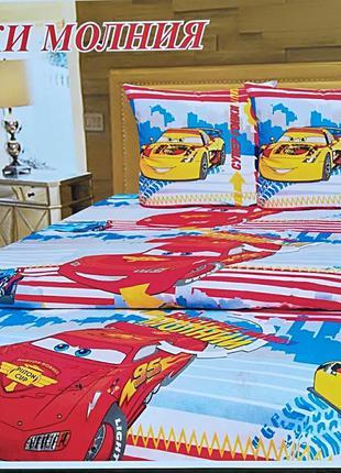 Детское постельное белье, бязь. тачки маквин