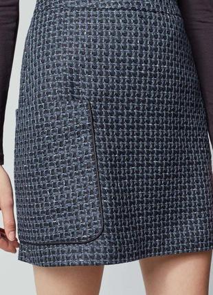 Юбка синяя черная с большим карманом прямая твидовая теплая на...