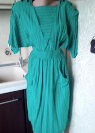 # винтажное стильное ярко-зеленое платье миди#платье в полоску...