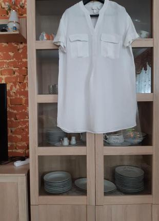 Очаровательное вискозно-льняное платье рубашка большого размера