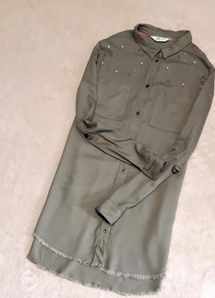 Рубашка с необработанным низом размер 6-8 h&m