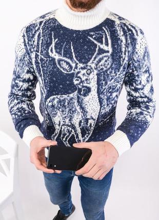 Зимний мужской свитер с оленем