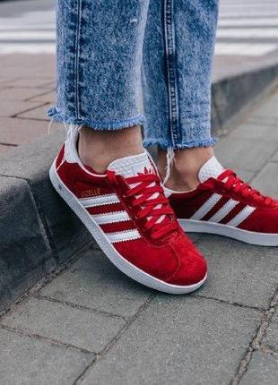 Кроссовки adidas gazelle red ( aдидас газель ) кеды красные с ...