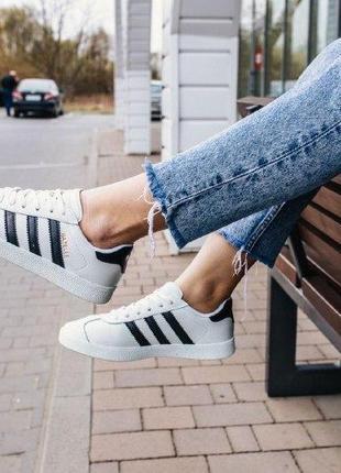 Кроссовки adidas gazelle white ( aдидас газель ) кеды белые с ...