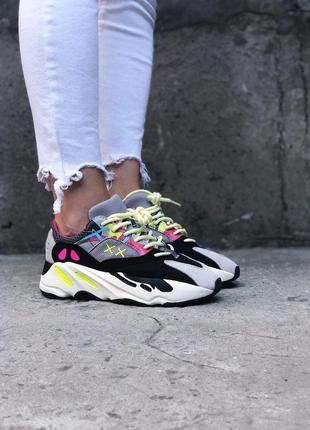 Кроссовки adidas yeezy boost 700 wave runner pink разноцветные