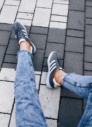 Кроссовки adidas gazelle gray ( aдидас газель ) кеды серые с о...