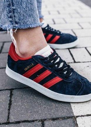 Кроссовки adidas gazelle ( aдидас газель ) кеды темно синие с ...