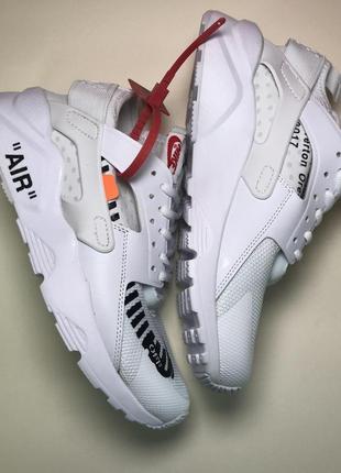Кроссовки nike air huarache off-white white белые с черным