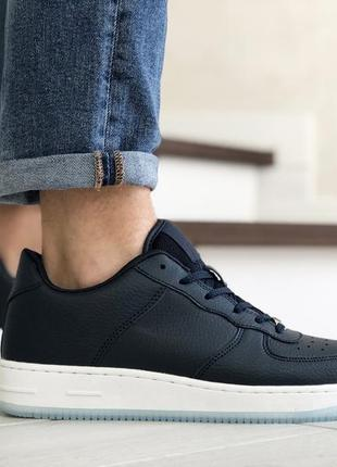 Классические мужские темно синие кроссовки с белой подошвой