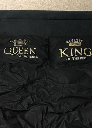 Черное постельное белье с принтом king of the bad and queen of...