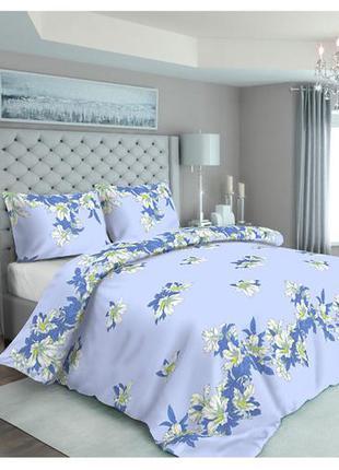 Голубое постельное белье с цветами хлопок