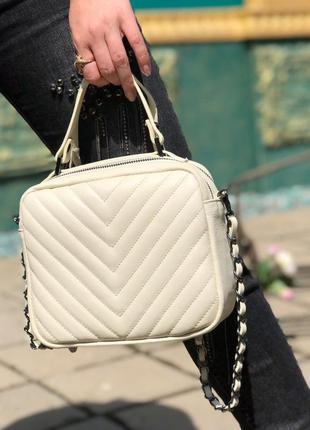 Кожаная сумочка-кроссбоди светлый беж vera pelle италия