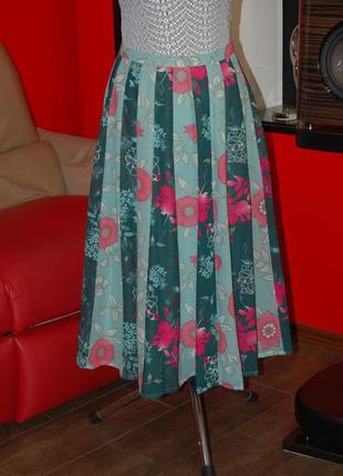Tu premium! летняя юбка-клинка, в складку с принтом, индия
