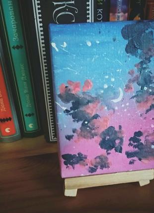 Картина акрилом живопись холст, интерьер, вечернее небо
