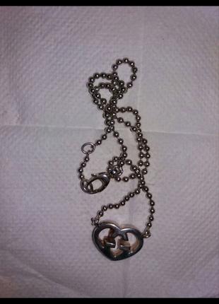 Кулон в виде сердца  на цепочке с логотипом фирмы Gucci, 925 проб