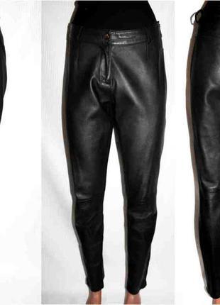 Кожаные брюки бойфренд высокая талия heine натуральная тонкая ...