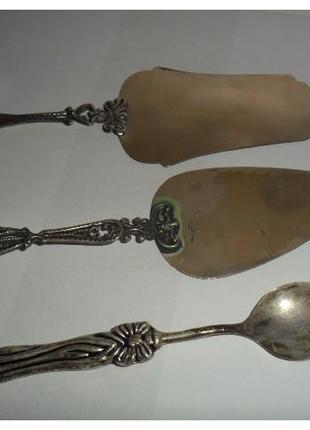 Старовинний кухонний набір. Дві лопатки та ложка. Срібло