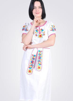 Платье из льна с хлопковым кружевом, белое
