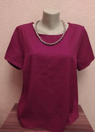 Фактурная блузка винного цвета new look размер 16
