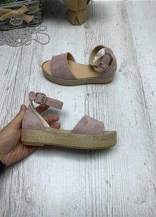 Замшевые босоножки сандалии на плетеной подошве на платформе н...