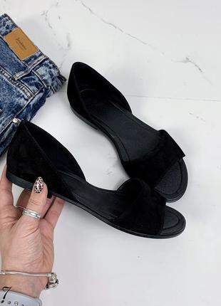 Замшевые босоножки сандалии балетки с открытым носком