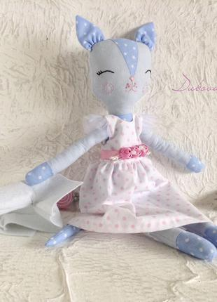 Текстильная кукла кошка 35 см. мягкая игрушка.