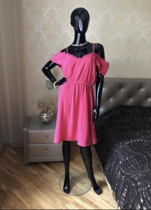 Платье/сарафан, малиновый с открытыми плечами, размер л