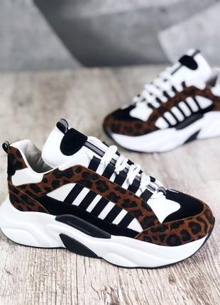 Кожаные замшевые кроссовки на толстой подошве