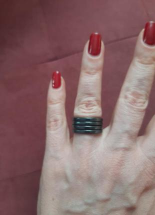 Кольцо из натурального камня гематит