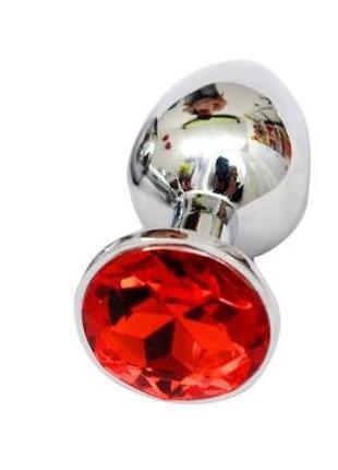 Анальная пробка с камнем под Сваровски, цвет красный
